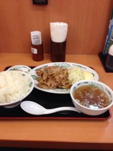 日高屋 下北沢店 生姜焼き定食